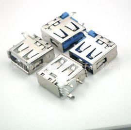 深圳连接器厂家大量供应USB AF 10.0侧插14.0蓝胶侧插USB14.0母座