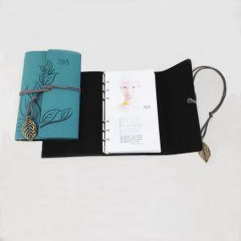 佳佳文具 厂家供应仿皮三折活页本 带绑带叶子吊坠的笔记本