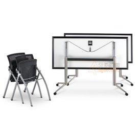 众晟家具供应批发DAWN-TD01#304不锈钢折叠培训桌
