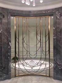 利创专业承接酒店会所工程不锈钢香槟金屏风定制加工古铜拉丝屏风