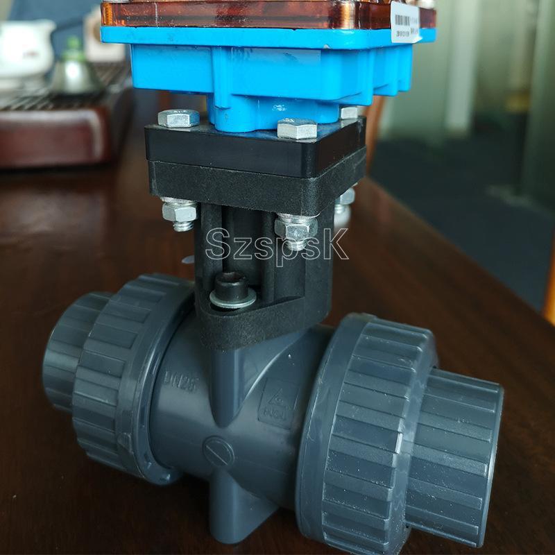 化工耐腐蚀塑料电动阀门PPH /UPVC 塑料电动球阀二通阀DN254050