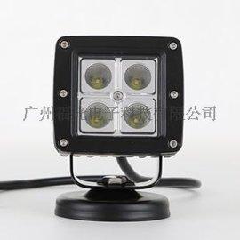 16W泛光越野车射灯 方形LED工作灯 越野车加装 汽车照明灯