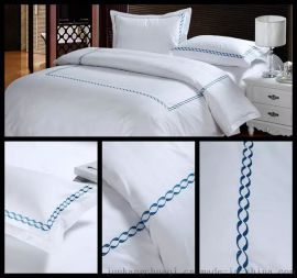 酒店布草四件套 五星 純棉面料60*40噴氣貢緞套件