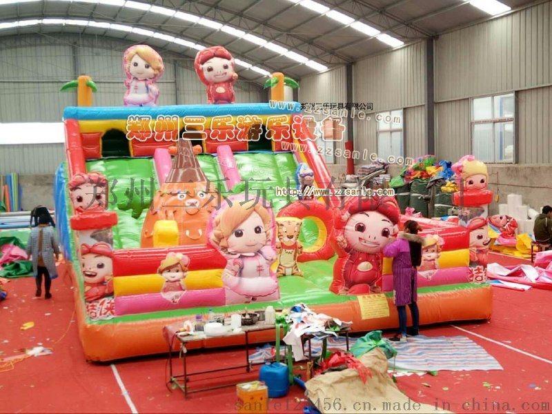 广西人人兴奋的儿童充气滑梯大好有前途的经营事业