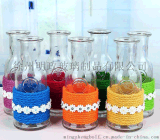 多用途食品级创意玻璃杯花瓶饮料瓶彩色麻绳编花单只花器许愿瓶