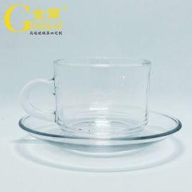 厂家定制玻璃咖啡杯碟英式红茶杯耐热玻璃杯碟套装