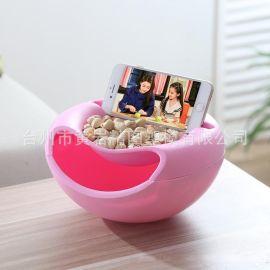 懒人瓜子盒多用果皮收纳盒可以看电视圆形双层果盘