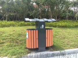 圆形钢木垃圾桶带烟灰缸街道公园小区  垃圾箱