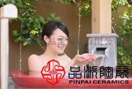 酒店洗澡缸定制 陶瓷泡澡大水缸日式款本温泉挂汤缸