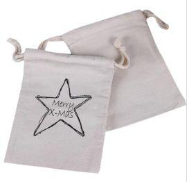 定做白色棉布束口袋 本色环保帆布抽绳背包袋