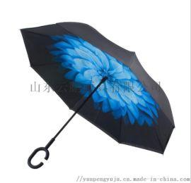 文竹反方向雨伞C型握把汽车专用伞厂家定制广告伞