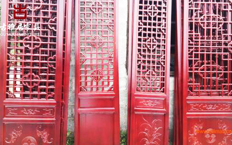 成都實木雕塑門窗廠家,茶樓實木雕花門窗定製