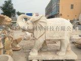 石雕大象一对晚霞红家用庭院门口镇宅招财风水象摆件