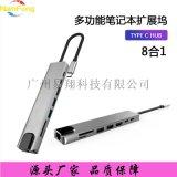 Type-C轉HDMI擴展塢鋁合金帶網口八合一