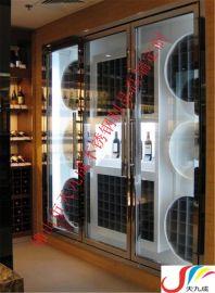 北京酒店嵌入式古铜色木纹恒温不锈钢酒柜,清吧不锈钢酒杯架