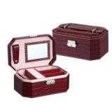 首饰盒收纳盒 韩国公主手提首饰盒 皮质珠宝盒带镜