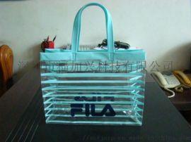 定制时尚条纹PVC手提包 新款PVC购物袋