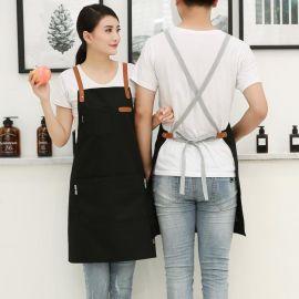 韩版时尚咖啡西餐厅挂脖帆布长围裙烘焙服务员工作装女定制印logo