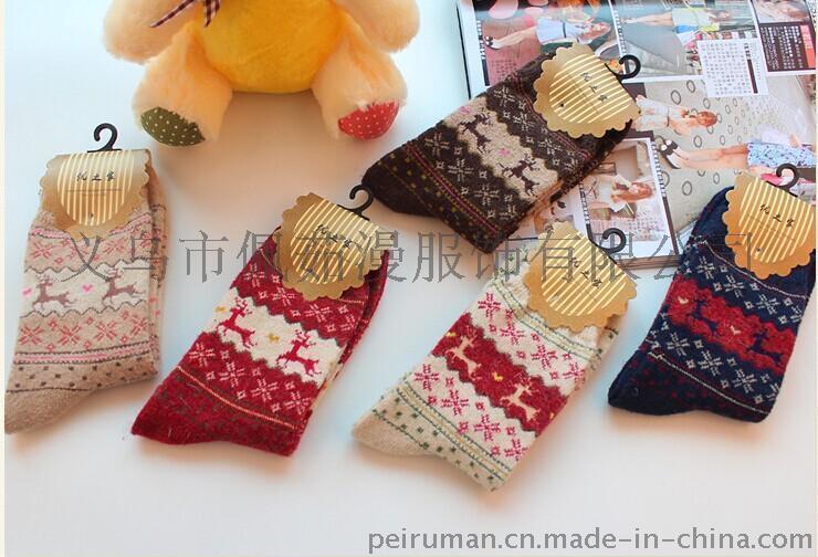 兔羊毛小鹿女襪襪子裝 加厚保暖女士純棉冬天襪子中筒襪