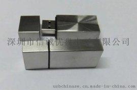 方块金属u盘 不锈钢材质 个性化USB 礼品U盘批发 足量8GB/16GB/32GB u盘制造商