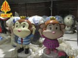 玻璃鋼卡通猴子雕塑 尚雕坊廠家H150CM猴年美陳裝飾卡通猴子