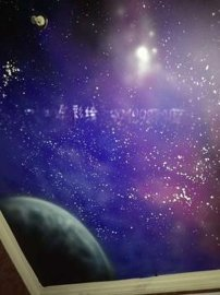 江苏星空彩绘喷画2南京游乐场早教中心吊顶彩绘