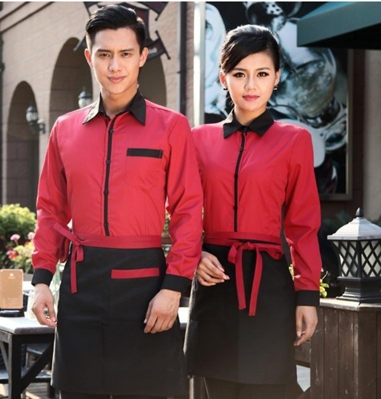 订做餐厅秋冬装餐饮酒店服务员工作服 餐厅男女款长袖饭店工装