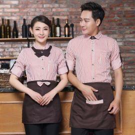 餐飲酒店制服秋冬裝服務員咖啡廳西餐廳火鍋店中長袖男女工作服
