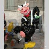 戶外玻璃鋼動物雕塑玻璃鋼卡通奶牛雕塑組合廠家直銷定製