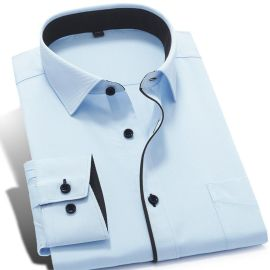 定做秋季男士白色長袖襯衫 正裝商務純色職業工裝襯衣