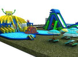 户外大型充气城堡滑梯 水上乐园 儿童娱乐戏水滑梯