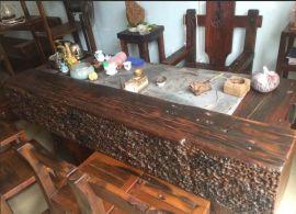 老船木家具天然海螺孔龙骨茶桌椅组合实木客厅原生态茶台茶几特价