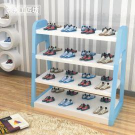 领秀展示服装店装修货架 包包展示架 落地鞋店橱窗装饰鞋架两面多层置物架