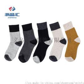 男士休闲羊毛袜,弹性毛圈边保暖袜,透气吸汗男袜
