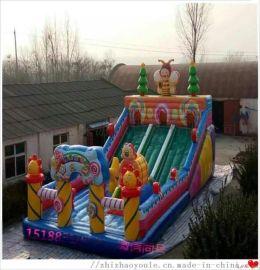 可移动户外儿童充气气堡床大滑梯图片