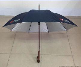 深圳虹彩雨伞,厂可定制中信银行自动木中棒直杆广告伞