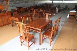 卓瑞明式餐台7件套厂家直销东阳红木家具明清家具仿古门窗古典家具木雕