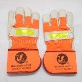 正毅橙色反光条家私皮保暖手套