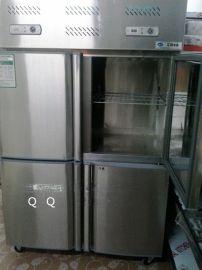 批发不锈钢四门冰柜,双机双温冷冻冷藏保鲜柜侧开门展示柜