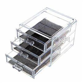 **热销 亚克力化妆品收纳盒 抽屉式桌面化妆盒透明储物盒
