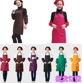 供应餐饮工作服围裙韩版咖啡厅奶茶店美甲员工挂脖围裙定制logo