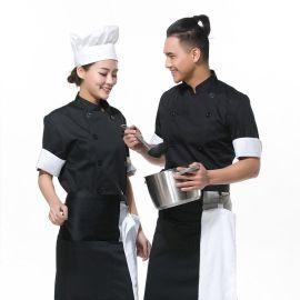佰道溪黑色西餐廳廚師服長袖 日韓式廚師服定做 夏季廚師服批發