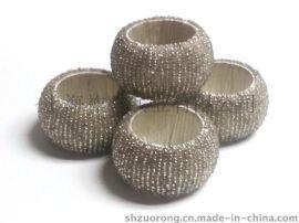 串珠餐巾圈 珠织餐巾扣 铁丝串珠餐巾环 串珠餐巾套环