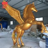 武汉玻璃钢金色飞马雕塑厂家13437156698