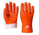 顺兴厂家直销 pvc 工业手套耐磨 防滑劳保用品 绒布手掌颗粒28cm