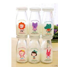 细高100ml酸奶瓶批发 玻璃杯布丁瓶 带盖新款烤花布丁瓶动物图案