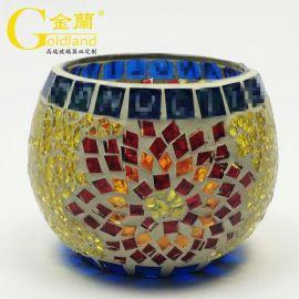 定制欧式手工贴片马赛克彩色玻璃杯圆形蜡烛杯香薰灯杯