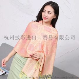 披彩J01人棉提花圍巾披肩外銷民族風