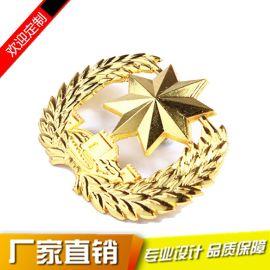 定制金色麦穗花边金属徽章 创意镂空胸章 礼品