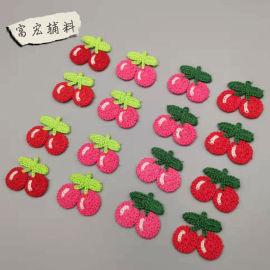 厂家直销机器仿手钩花涤纶手钩花水果形状4色可选